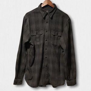 New RRL Grey Plaid Cotton Workwear Shirt L